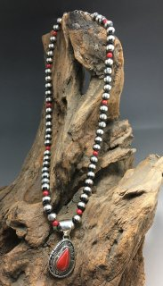 Navajo Russell Sam Red Coral Pendant Silver Ball Beads Necklace Set