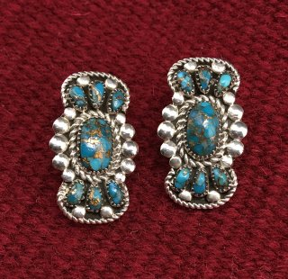 Zuni Lorraine Waatsa Natural Turquoise Cluster Earrings