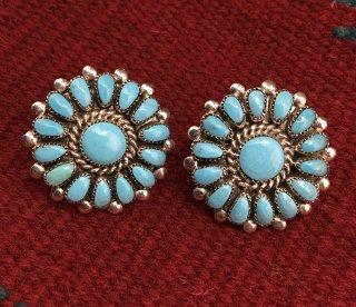 Zuni Lorraine Waatsa Sleeping Beauty Turquoise Cluster Earrings