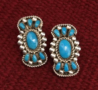 Zuni Lorraine Waatsa Sleeping Beauty Turquoise Cluster Earrings