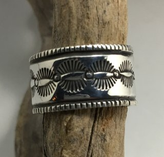 Navajo Arland Ben Coin Silver  Stamp Work Ring