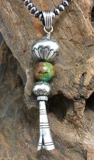 Navajo Lorenzo James Silver Ball Beads Royston Turquoise Ball Squash Blossom Pendant