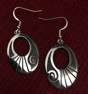 Hopi Stewart Tewawina Dacawyma Overlay Earrings