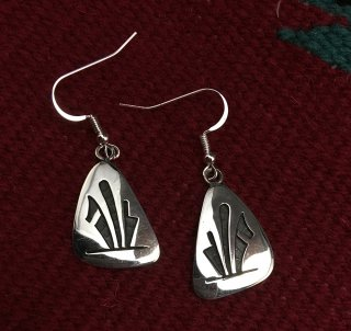 Hopi Stewart Tewawina Dacawyma Overlay Earrings