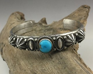 Navajo Edison Sundy Smith Kingman Turquoise Cuff Bracelet