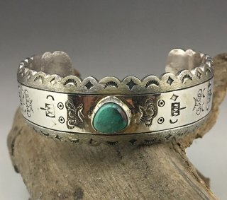 Hopi Darren Kuwahongva Coin Silver Fox Turquoise Cuff Bracelet