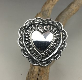 Navajo Sunshine Reeves Hand Stamped Heart Ring
