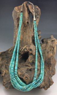 Santo Domingo Angie Crespin & Kenneth Aguilar Kingman Turquoise 3 Strand Heishi Necklace