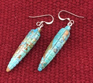Zuni Daniel Aguiler Jr. Turquoise Corn Fetish Earrings