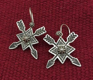 Navajo Darrell Cadman Silver Cross Arrow Earrings