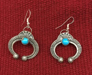 Navajo Kevin Billah Turquoise Naja Earrings