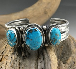 Navajo Darrin Livingston Morenci Turquoise Cuff Bracelet