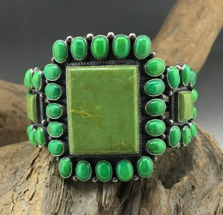 Navajo Anthony Skeets Mojave Turquoise Cluster Cuff Bracelet