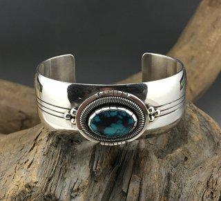Navajo Derrick Gordon Burnham Turquoise Cuff Bracelet