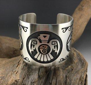 Hopi Weaver Selina Overlay Silver 18k Cuff Bracelet