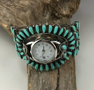 Navajo Paul Jones Sleeping Beauty Turquoise Cluster Cuff Watch Bracelet