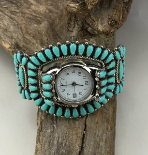 Navajo R D Sleeping Beauty Turquoise Cluster Cuff Watch Bracelet