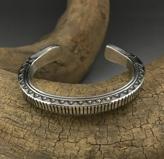 Navajo Wylie Secatero Hand Stamped Silver Cuff Bracelet