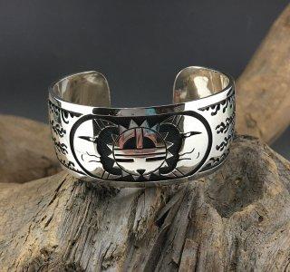 Hopi Charleston Lewis Overlay Cuff Bracelet