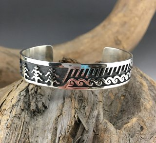 Hopi Raymond Kyasyousie Overlay Cuff Bracelet