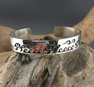 Hopi Dorothy Poleyma Kyasyousie Overlay Cuff  Bracelet