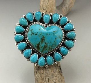 Navajo Tonya June Rafael Turquoise Cluster Adjustable Ring