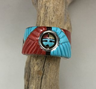 Zuni Don Dewa Inlay Sun Face Spinner Ring