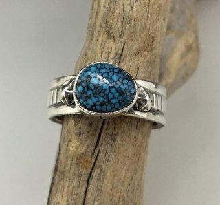 Navajo Steve Arviso Spider Web Kingman Turquoise Ring