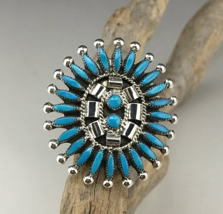 Zuni Danny Etsate Turquoise Needle Point Ring