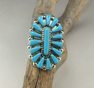 Zuni Vera Hallusewa Turquoise Needle Point Ring