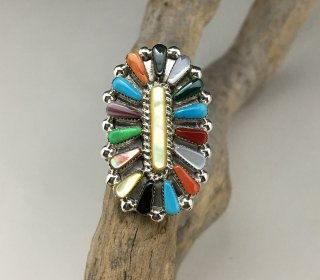 Zuni Vera Hallusewa Multi Stone Needle Point Ring