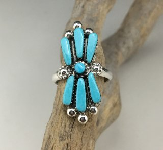 Zuni Margie Etsate Turquoise Needle Point Ring