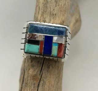 Navajo Ray Jack Mosaic Inlay Ring