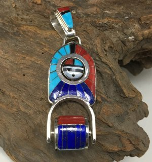 Zuni Don Dewa Sunface Spinner and Roller Inlay Pendant