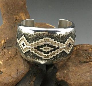 Navajo Dan Jackson Rug Design New Ttyle Overlay Cuff Bracelet