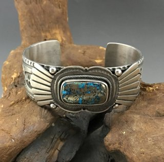 Navajo Tommy Jackson Morenci Turquoise Cuff Bracelet