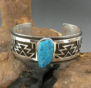 San Felipe Pueblo Tim Yazzie Kingman Turquoise overlay Cuff Bracelet