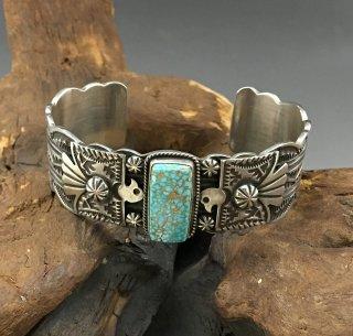 Navajo Darrell Cadman Namber Eight Turquoise Cuff Bracelet