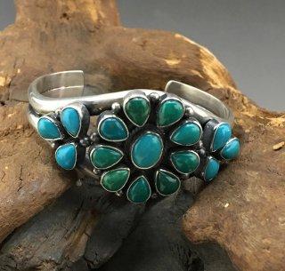 Navajo Donovan Cadman Fox Turquoise Cluster Cuff Bracelet