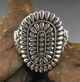 Navajo Thomas Jim Silver Cluster Cuff Bracelet