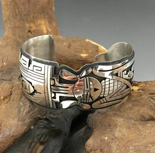 Hopi Berra Tawahongva Overlay Cuff Bracelet