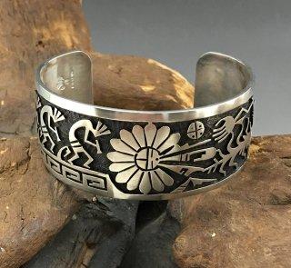 Hopi Willis Humeyestewa Overlay Cuff Bracelet
