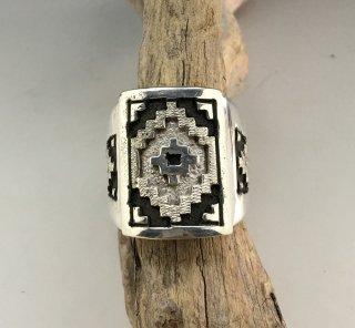 Navajo Dan Jackson Rug Design Overlay Ring