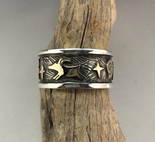 Navajo Arland Ben Silver and 14K Petroglyph Ring