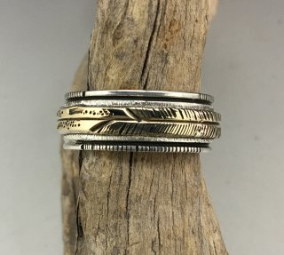 Navajo Alvin Monte Silver and 14K Feather Ring