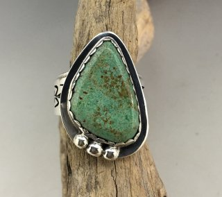 Hopi Berra Tawahongva Hachita Turquoise Overlay Ring