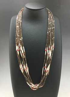 Santo Domingo Ramona Bird 10 Strand Shell and Coral Necklace