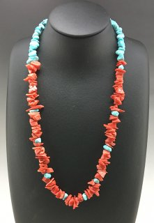Santo Domingo Ramona Bird Tuquoise and Coral Necklace