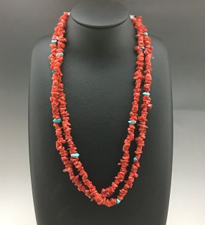 Santo Domingo Ramona Bird 2 Strand Coral and Turquoise Necklace