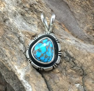 Navajo Fred Peters Red Mountain Turquoise Pendant